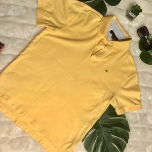Tommy Hilfiger yellow button up polo shirt sz L